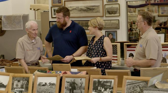 Mr. Jimmy showed Erin and Ben Napier some World War II memorabilia.