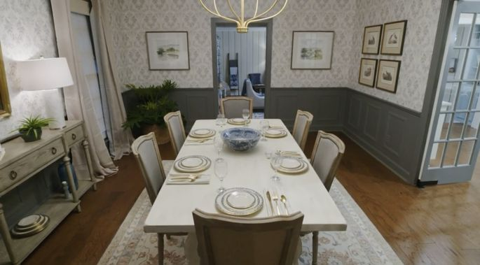 With some dark paint and new wallpaper, this dining room is back to its former glory.