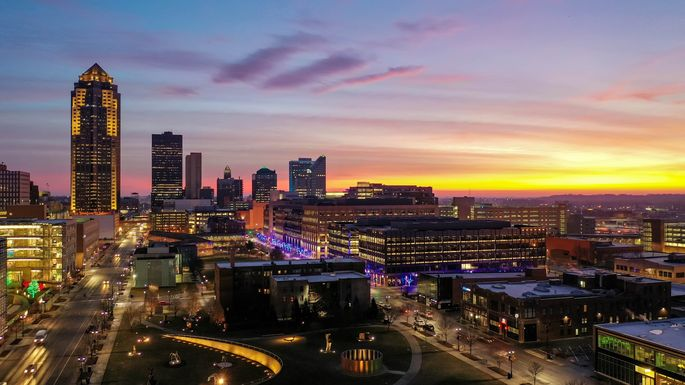 Des Moines Aerial Skyline at Sunrise