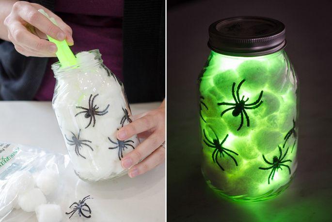 Glow sticks transform a Mason jar into something Halloween-worthy.