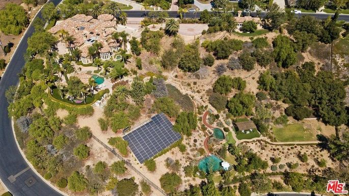 Aerial view of the estate, includingthe solar panels