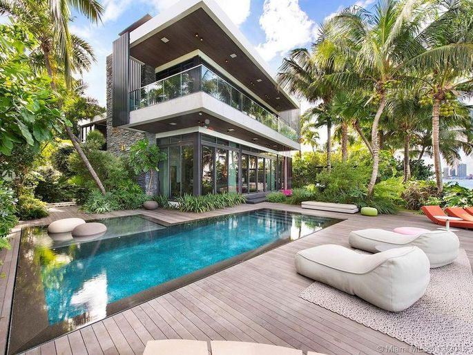 An 8,665-square-foot home that is currently on the market on the Venetian Islands in Florida's Biscayne Bay.