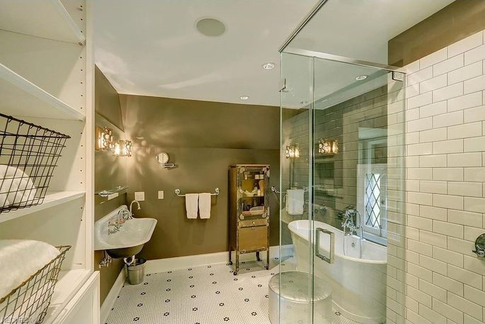 The home's luxe master-bath suite.