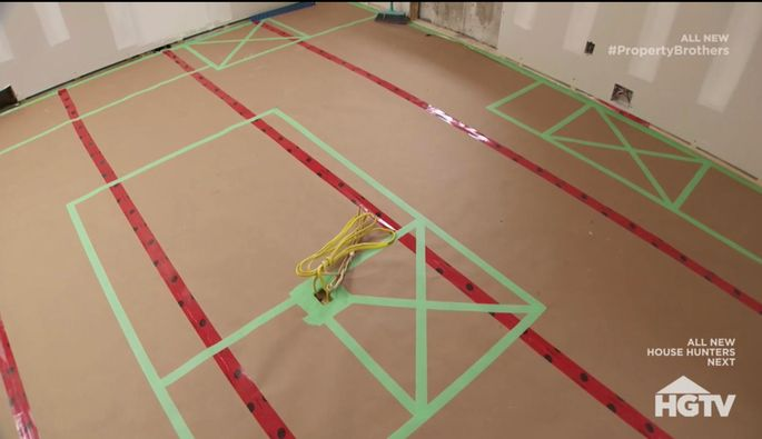 Painter's tape can be used to map out future installations.