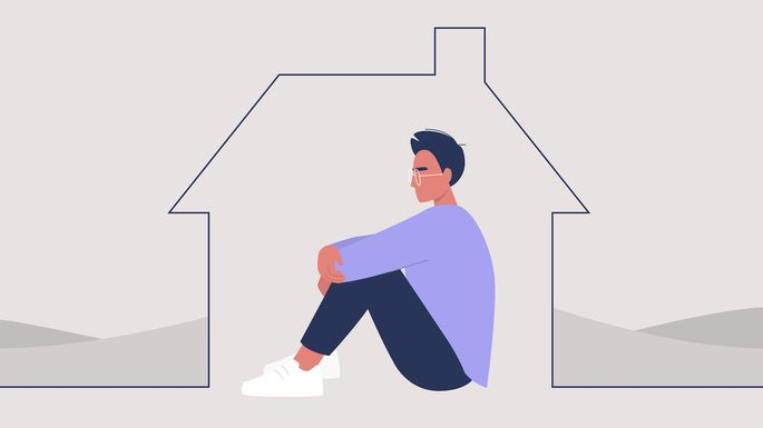 Young male character self isolated at home, quarantine and social distancing