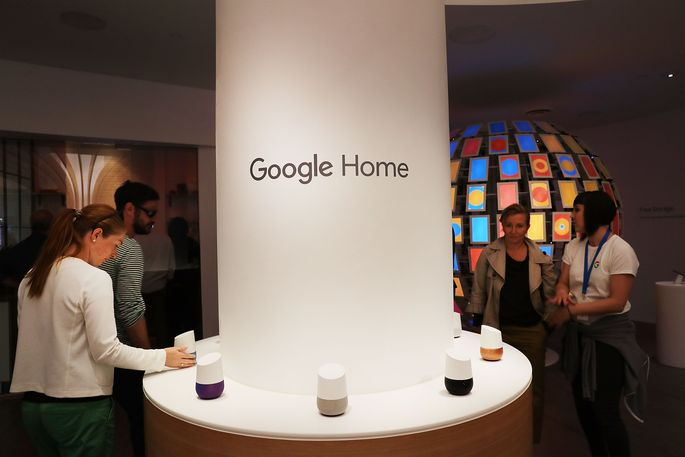 Google Home smart speakers at the company's pop-up shop in the SoHo neighborhood in New York City.