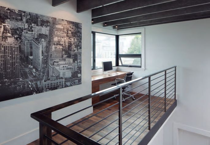 Exposed beams open up the space.