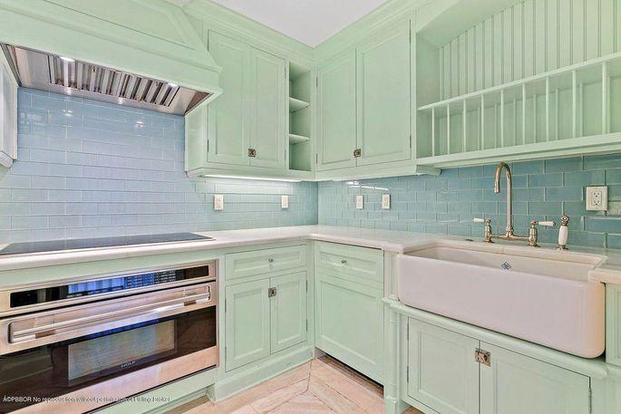 Mint-green kitchen