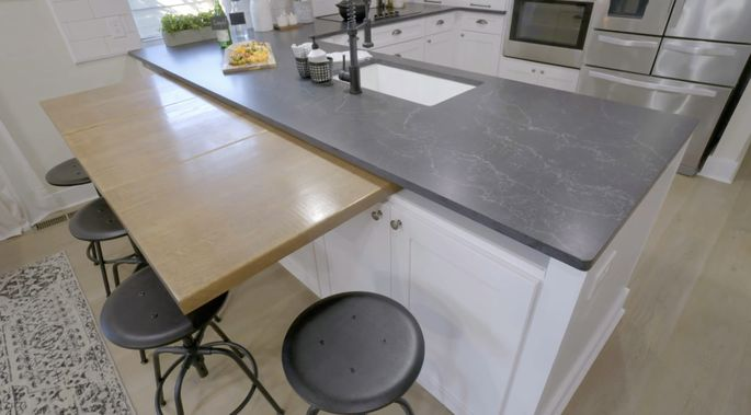 This convertible counter is a a clever way to include a dining area in a small space.