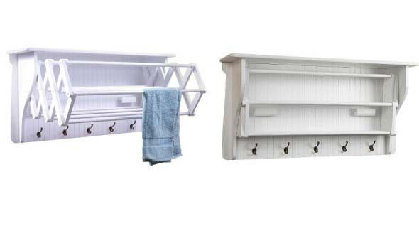 Wall Shelf With Collapsible Drying Rack and Hook