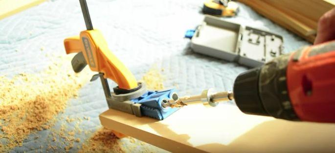 Drill pocket holes.