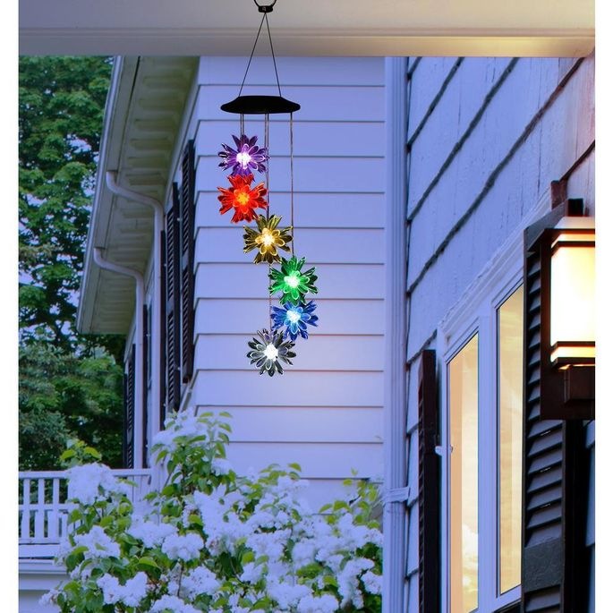 These wind chimes light up at night.