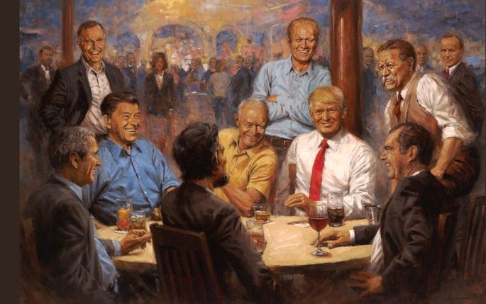 "President Donald Trump displayed a painting titled ""The Republican Club"" in the White House Oval Office."