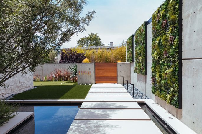 The home of Matthew and Nina Christensen in Newport Beach, Claif., includes three faux green walls that cost a total of about $10,000.