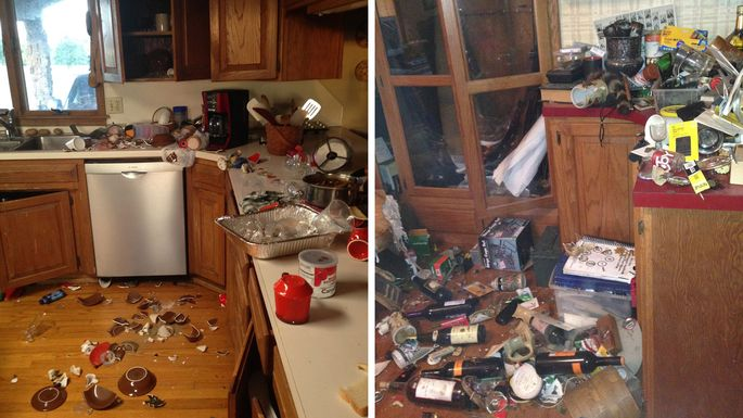 Interior damage of the Bryant's home