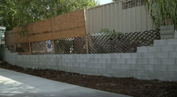 Repairs were started on this wall, but the work wasn't done by the time Pino and Patsy listed it.