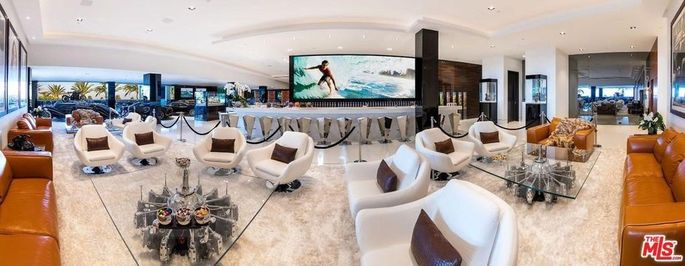 Nightclub lounge bar with massive TV
