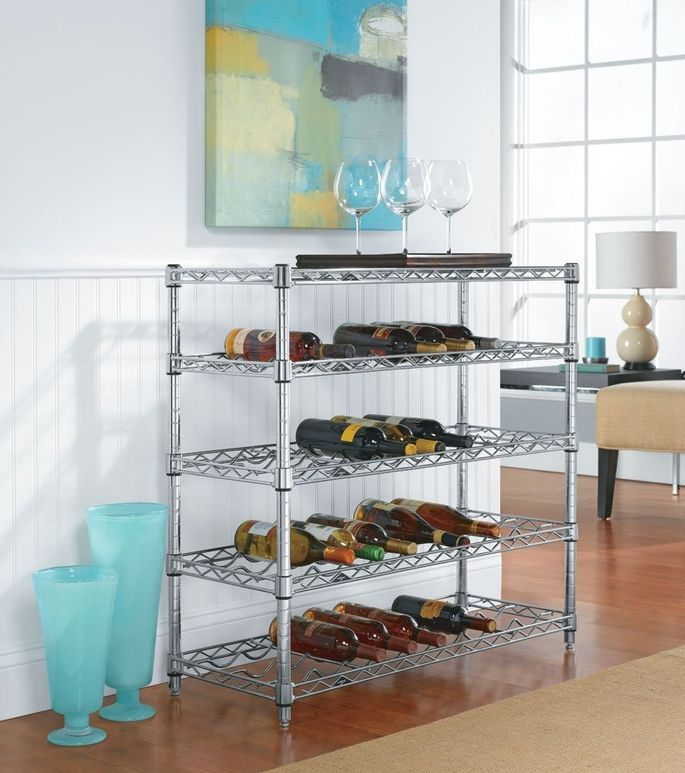 Hold 36 bottles in this good-looking chrome rack.