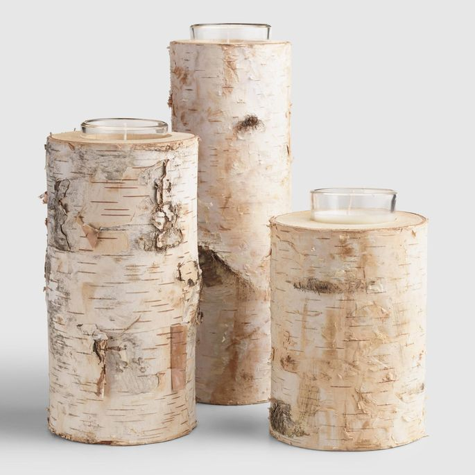 Whether flameless or the real deal, birch bark candles bring nature inside.