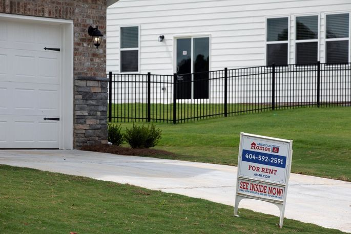In the depths of the last housing crisis American Homes 4 Rent traveled to markets throughout the country looking for foreclosure auctions, including the suburbs surrounding Atlanta. An American Homes 4 Rent sign in Loganville, Ga.