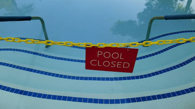 Closed swimming pool at Casa Blanca Hotel-Mesquite, Nevada