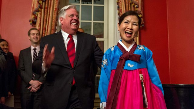 Maryland First Lady Yumi Hogan prepped and served kimchi at the Lunar New Year Celebration at the Maryland Government House in 2015.