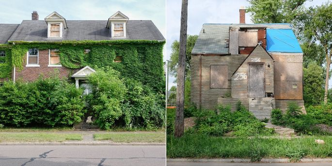 Vacant properties in Detroit.