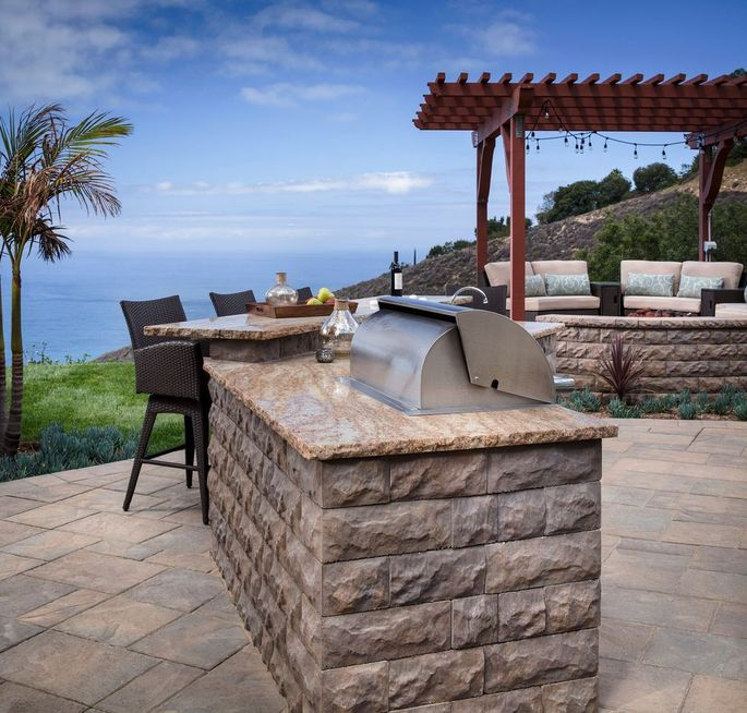 An outdoor kitchen is an increasingly popular type of hardscaping.