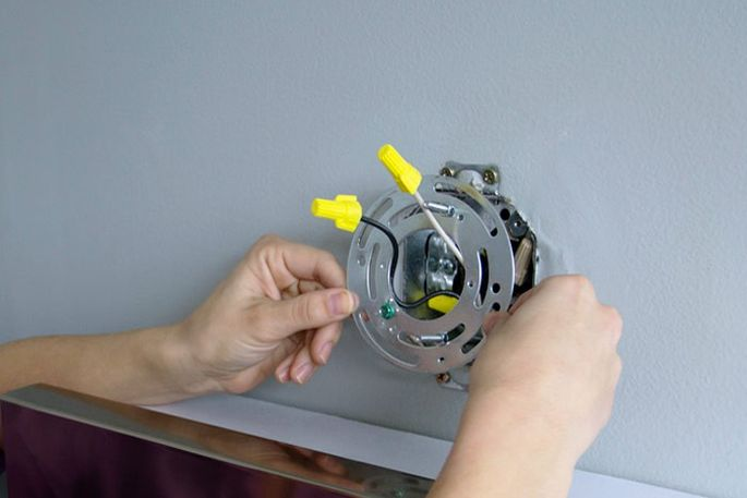 Hard-wired lighting fixture installation