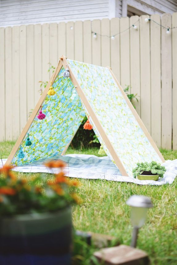 A cheerful A-frame tent