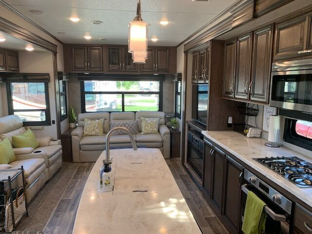 The spacious interior of Shannon and Dino Watt's RV