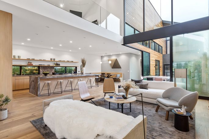 Great room with 26-foot-high ceiling