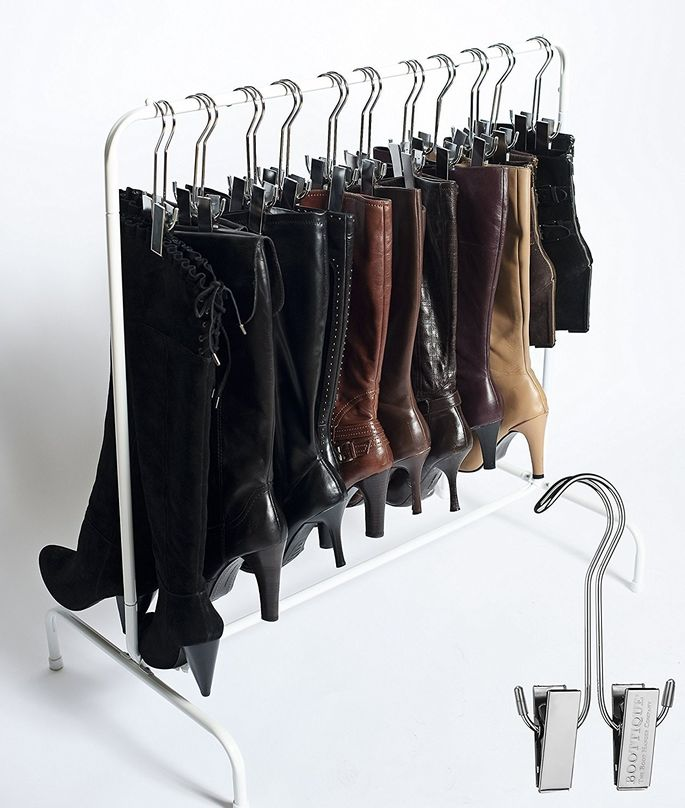 Boot hangers are great for getting your shoes off the ground and organized.