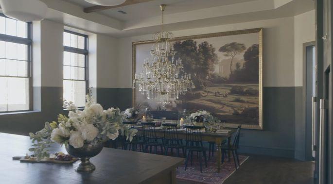 The dark colors make this room look elegant.
