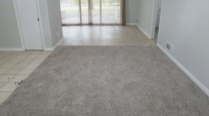 Before: This flooring didn't make a good first impression.
