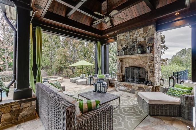 Outdoor area with fireplace