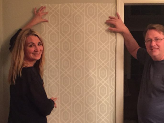 Kimberly Breen hung this wallpaper in her upstairs bathroom last year, though her husband, Patrick, initially objected.