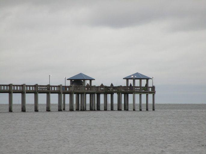 Pascagoula Beach on the Gulf of Mexico has a high flood risk. Notice the stilts?