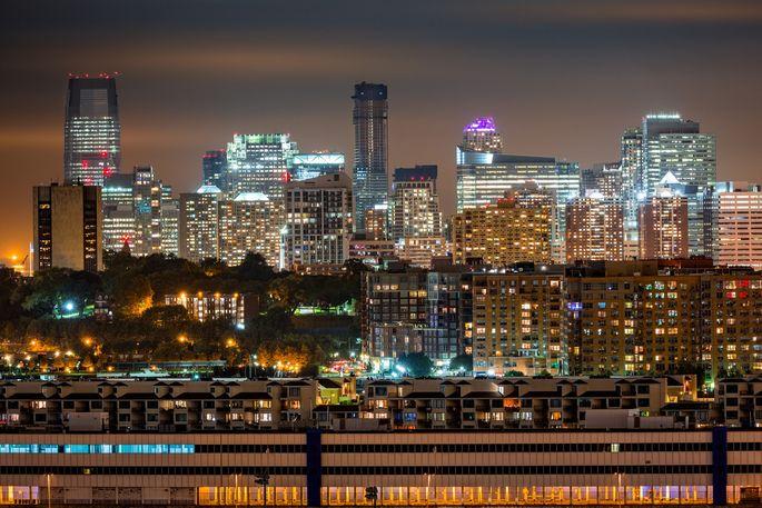 The Jersey City skyline by night