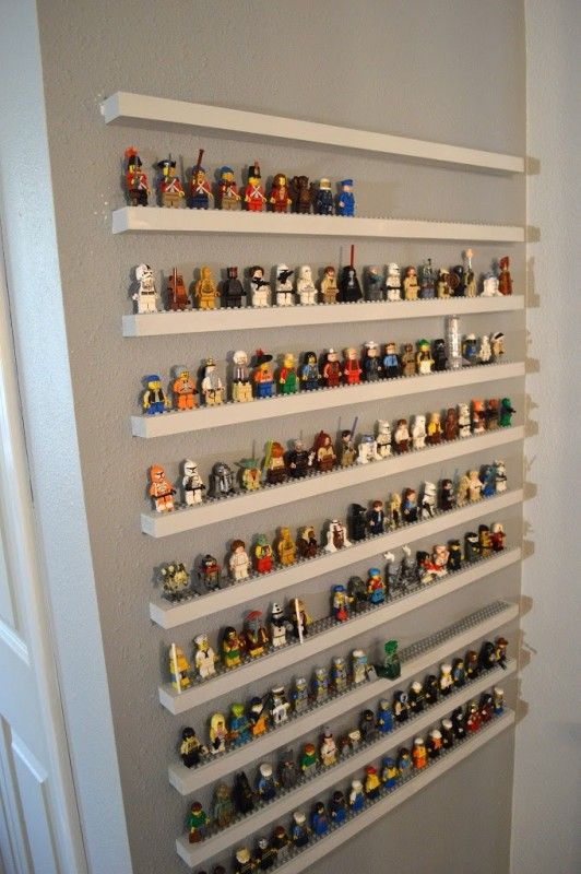 Tiny Lego toys can be organized and displayed on tiny Lego shelves.