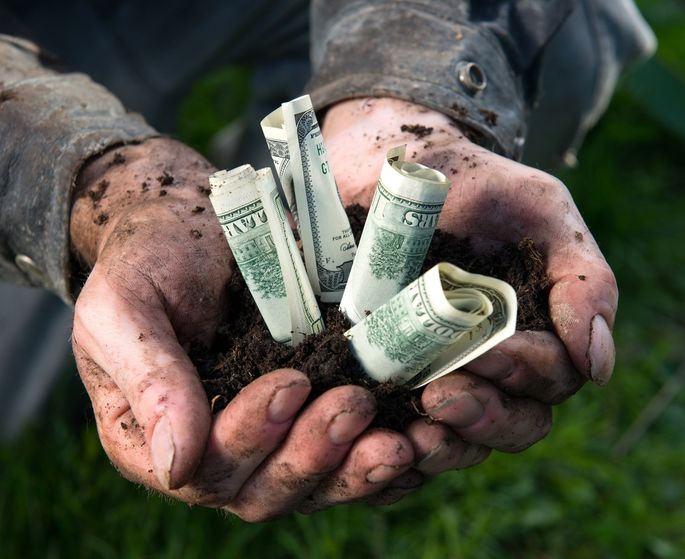 Man holding US currency in a handful of soil
