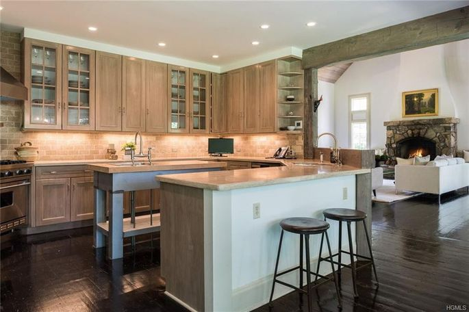 Kitchen with island and bar seating