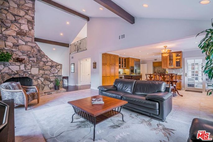 Open space with stone fireplace