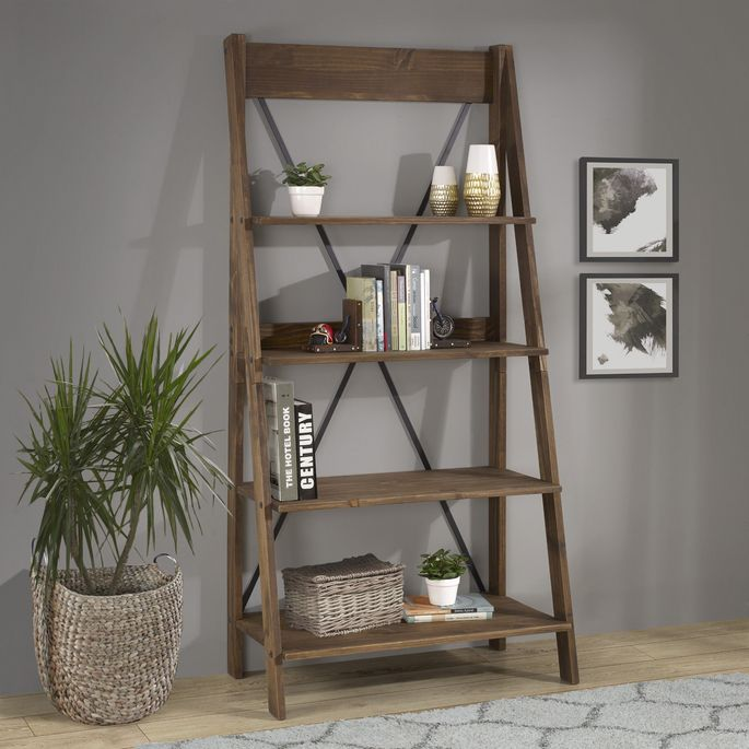 Open bookshelves add storage and a place to display items.