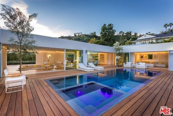 Backyard with new pool and spa