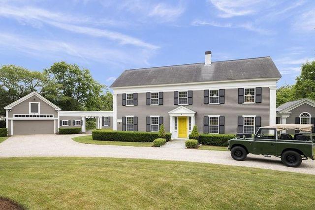 Duxbury, MA estate exterior yellow door