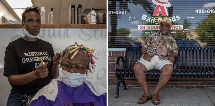 Left: Tori Tyson, owner of Blow Out Hair Salon, styling Shelia Hooks's hair on Thursday. The salon has been in Tyson's family for three generations, and she raised her children in the Greenwood neighborhood. 'I'm appreciative of the opportunity to have a business on Black Wall Street, knowing the history and the background.' Right: Walter Armstrong is the owner of Big 'A' Bail Bonds, in Greenwood. He has operated the business for more than 10 years, and his daughter and granddaughters also work in the neighborhood.