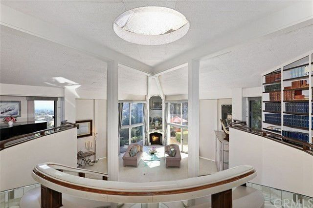 Living room with glass fireplace