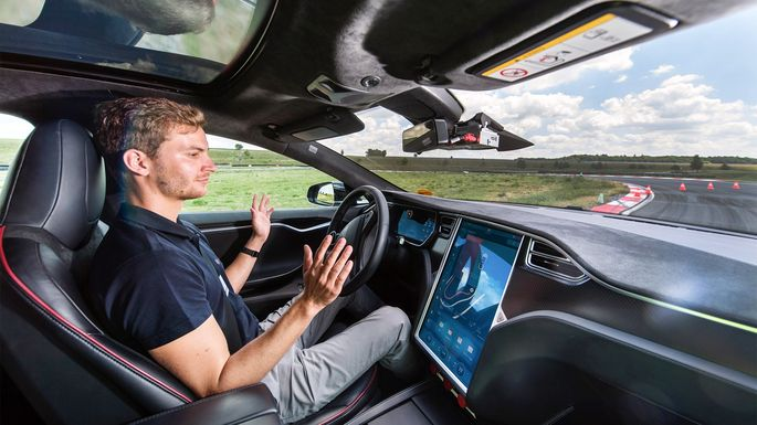 Tesla's self-driving car technology on display