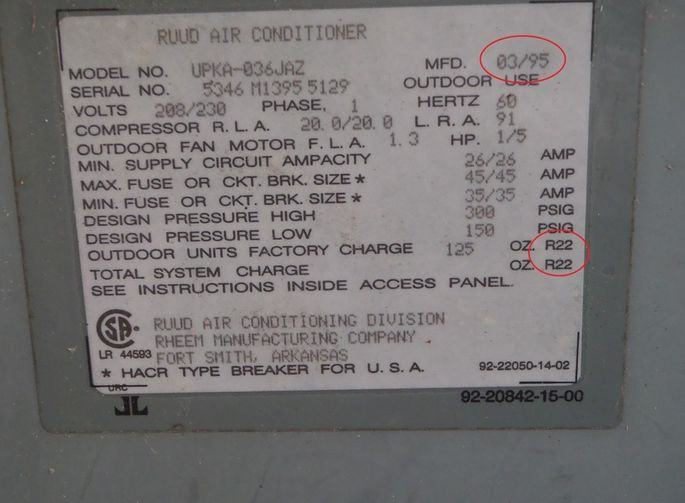 An old AC that uses R-22, aka freon